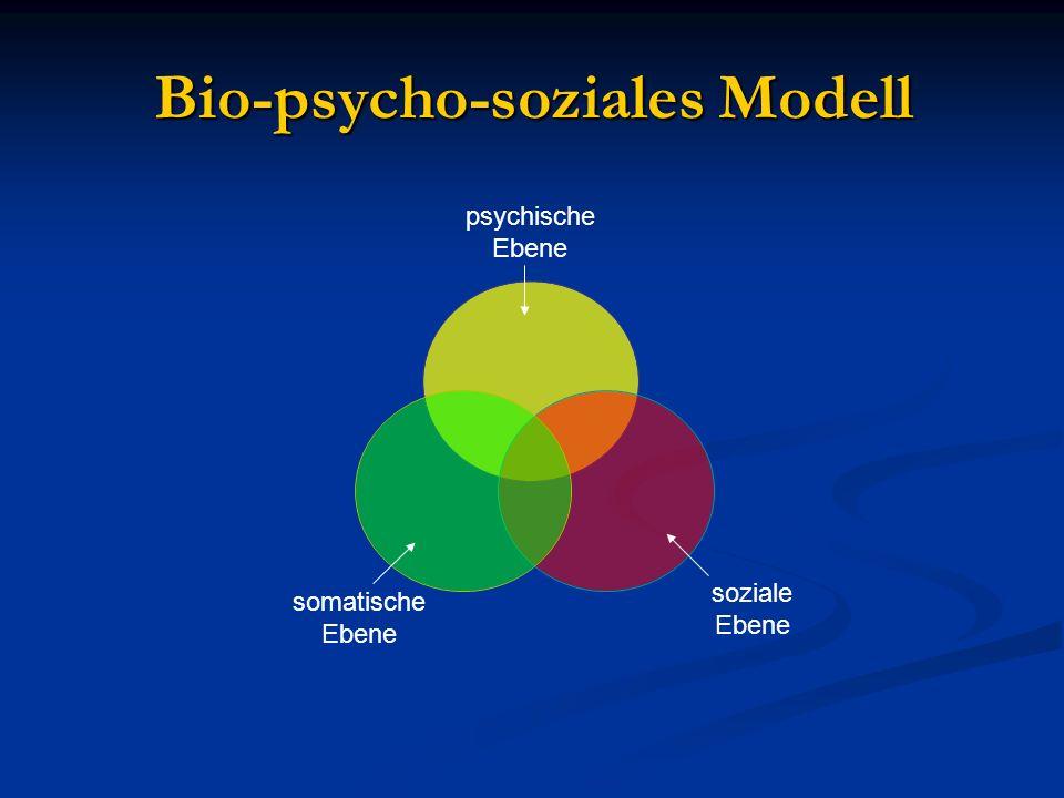 Bio-psycho-soziales Modell psychische Ebene soziale Ebene somatische Ebene