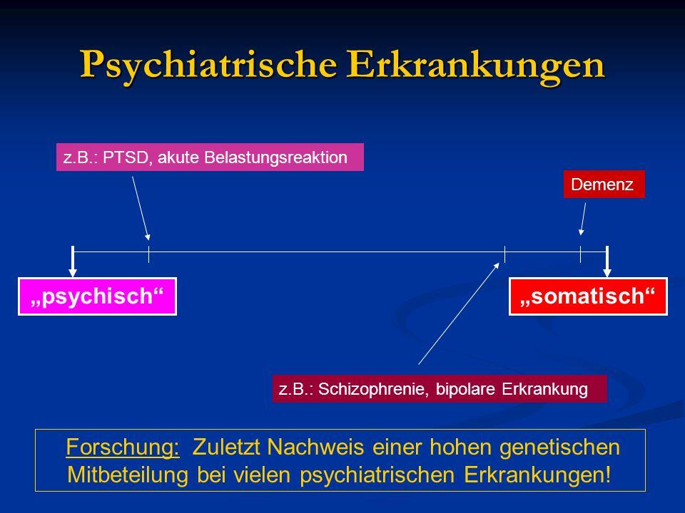 Psychiatrische Erkrankungen psychischsomatisch z.B.: PTSD, akute Belastungsreaktion z.B.: Schizophrenie, bipolare Erkrankung Demenz Forschung: Zuletzt