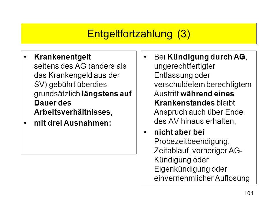 104 Entgeltfortzahlung (3) Krankenentgelt seitens des AG (anders als das Krankengeld aus der SV) gebührt überdies grundsätzlich längstens auf Dauer de
