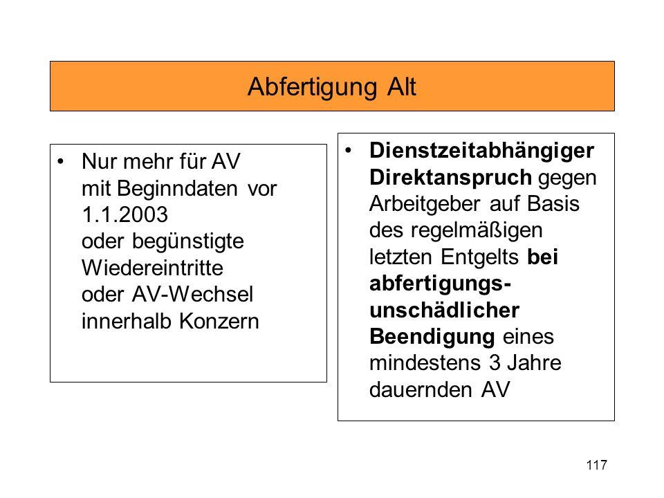 117 Abfertigung Alt Nur mehr für AV mit Beginndaten vor 1.1.2003 oder begünstigte Wiedereintritte oder AV-Wechsel innerhalb Konzern Dienstzeitabhängig