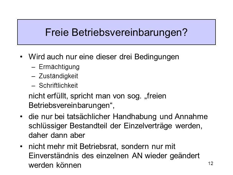 12 Freie Betriebsvereinbarungen.