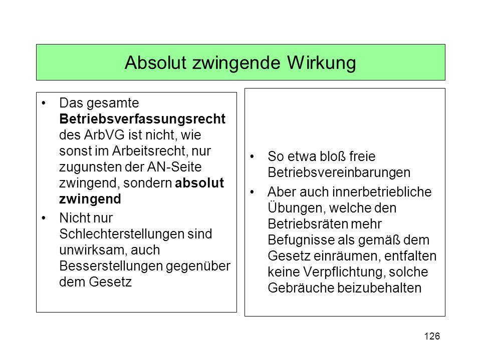 126 Absolut zwingende Wirkung Das gesamte Betriebsverfassungsrecht des ArbVG ist nicht, wie sonst im Arbeitsrecht, nur zugunsten der AN-Seite zwingend