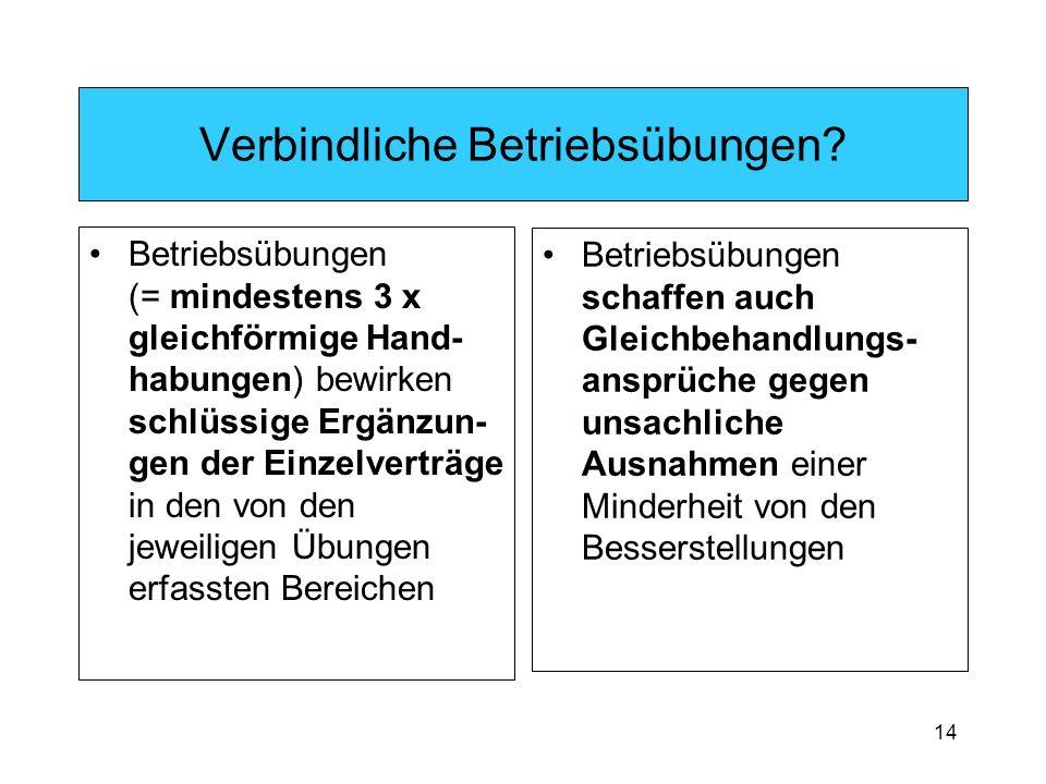 14 Verbindliche Betriebsübungen.