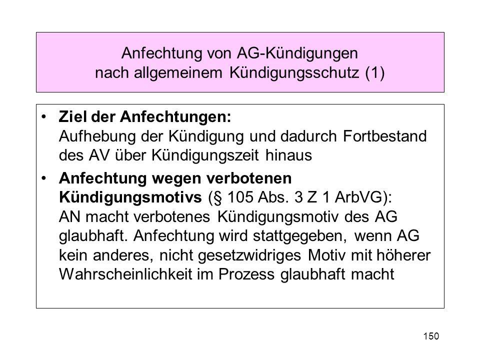 150 Anfechtung von AG-Kündigungen nach allgemeinem Kündigungsschutz (1) Ziel der Anfechtungen: Aufhebung der Kündigung und dadurch Fortbestand des AV