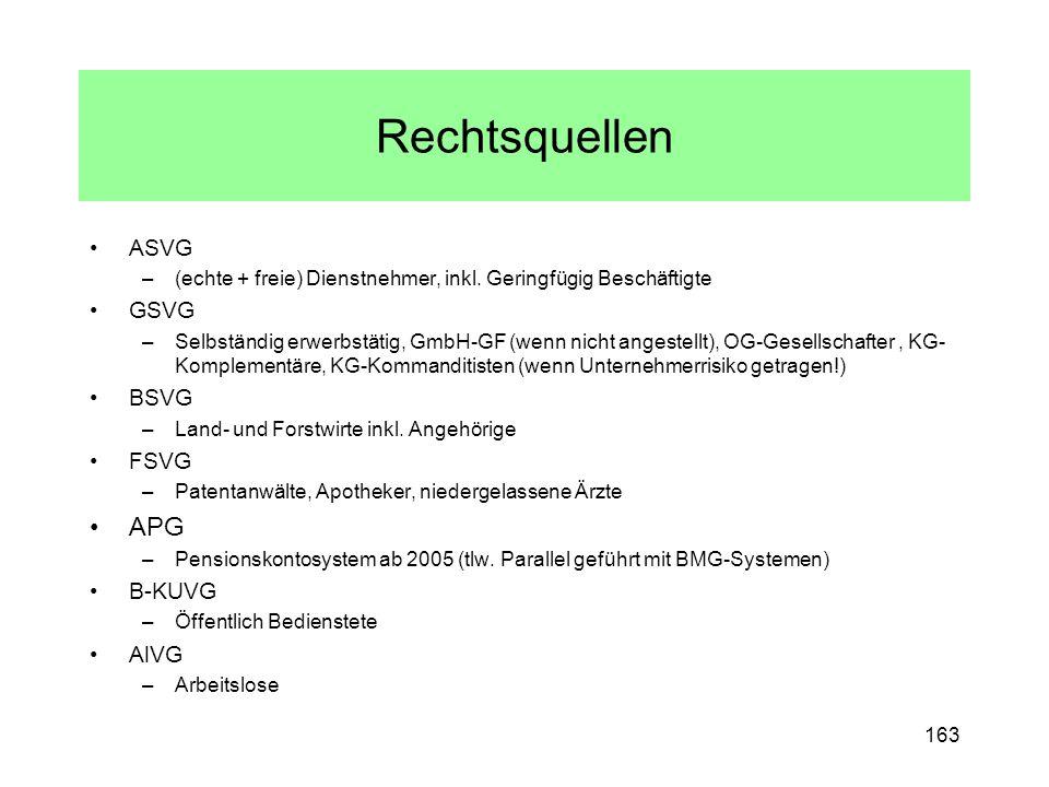 Rechtsquellen ASVG –(echte + freie) Dienstnehmer, inkl. Geringfügig Beschäftigte GSVG –Selbständig erwerbstätig, GmbH-GF (wenn nicht angestellt), OG-G