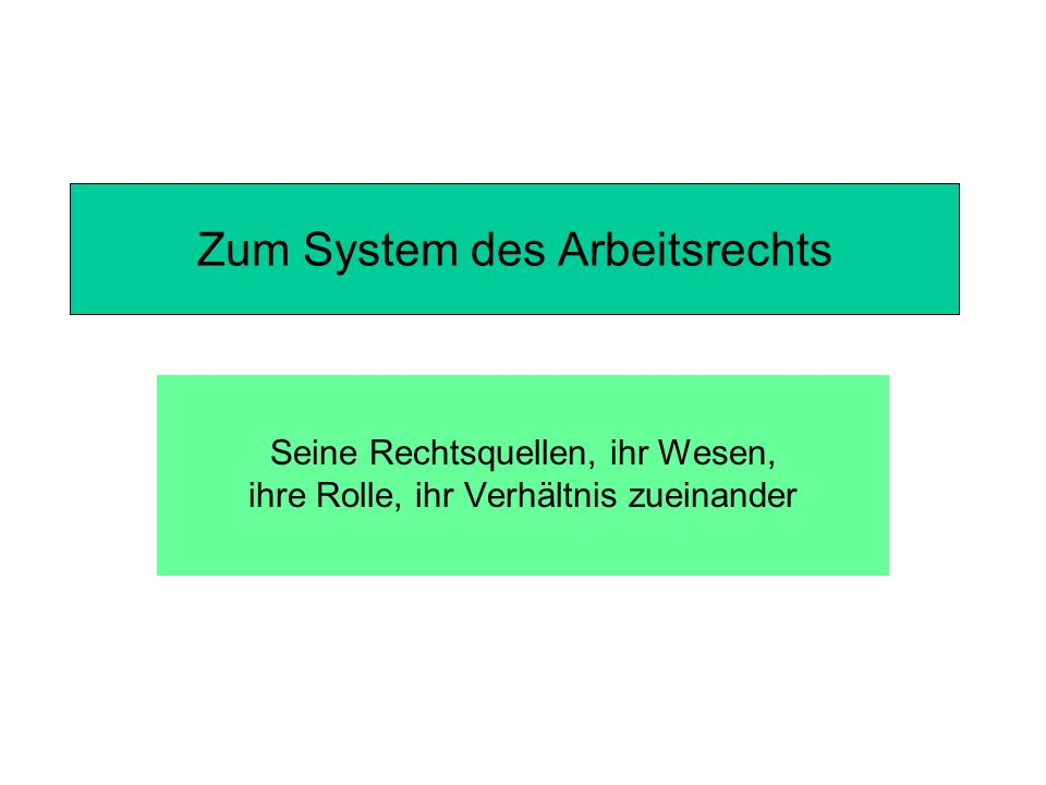 Zum System des Arbeitsrechts Seine Rechtsquellen, ihr Wesen, ihre Rolle, ihr Verhältnis zueinander