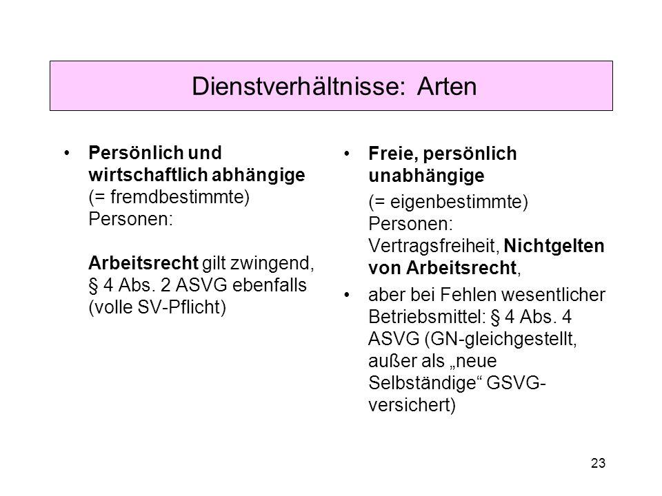 23 Dienstverhältnisse: Arten Persönlich und wirtschaftlich abhängige (= fremdbestimmte) Personen: Arbeitsrecht gilt zwingend, § 4 Abs.