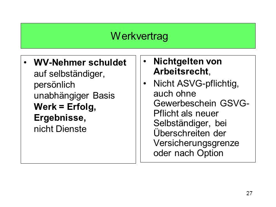 27 Werkvertrag WV-Nehmer schuldet auf selbständiger, persönlich unabhängiger Basis Werk = Erfolg, Ergebnisse, nicht Dienste Nichtgelten von Arbeitsrec