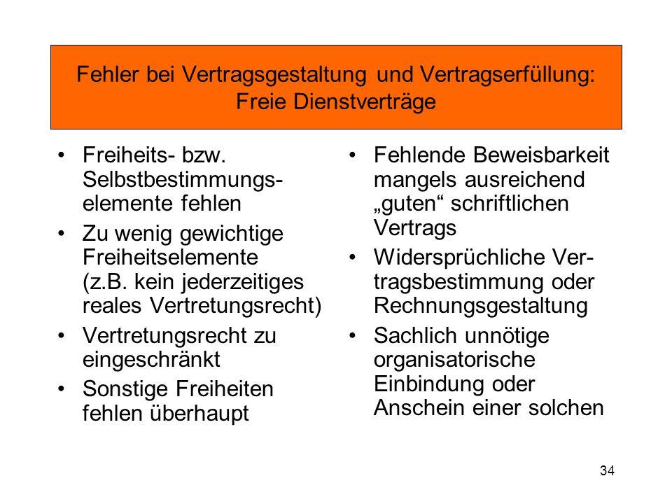 34 Fehler bei Vertragsgestaltung und Vertragserfüllung: Freie Dienstverträge Freiheits- bzw. Selbstbestimmungs- elemente fehlen Zu wenig gewichtige Fr
