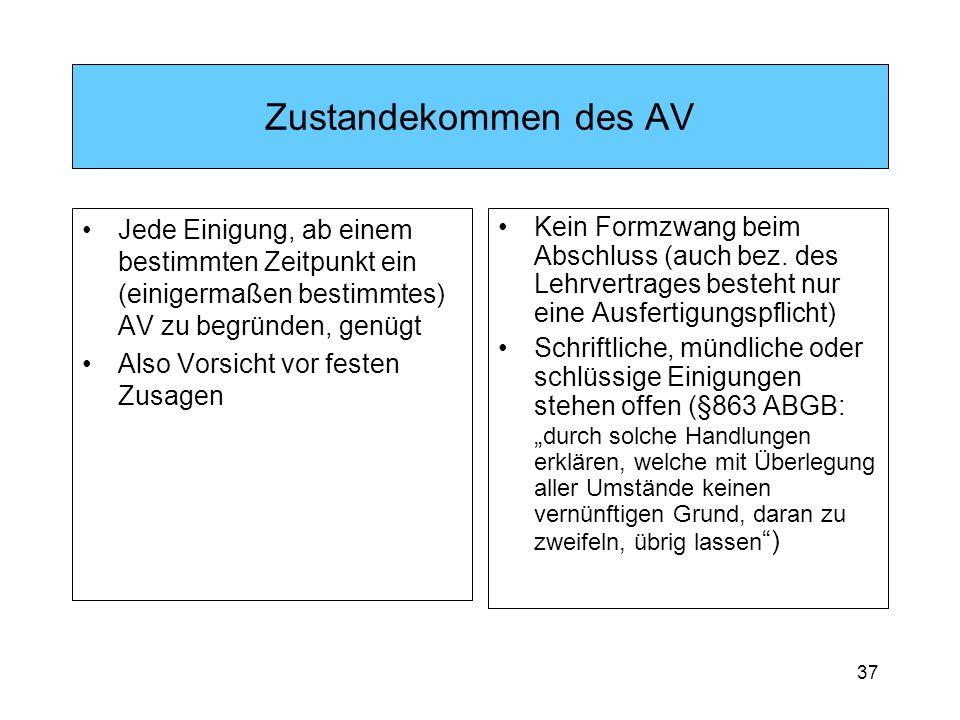 37 Zustandekommen des AV Jede Einigung, ab einem bestimmten Zeitpunkt ein (einigermaßen bestimmtes) AV zu begründen, genügt Also Vorsicht vor festen Zusagen Kein Formzwang beim Abschluss (auch bez.