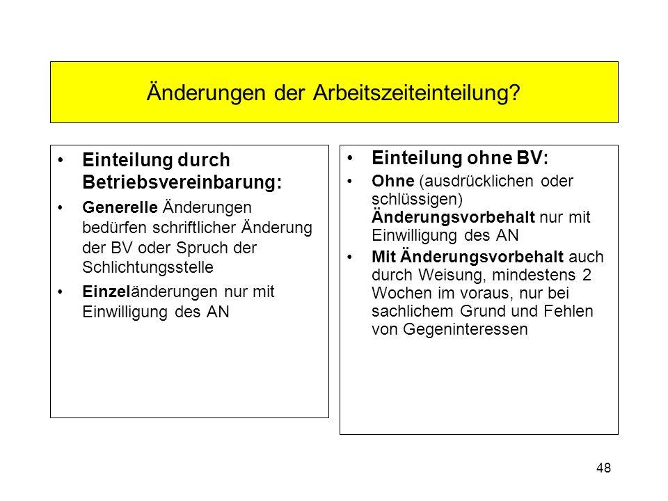 48 Änderungen der Arbeitszeiteinteilung? Einteilung durch Betriebsvereinbarung: Generelle Änderungen bedürfen schriftlicher Änderung der BV oder Spruc