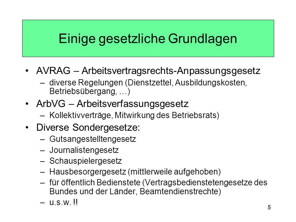 5 AVRAG – Arbeitsvertragsrechts-Anpassungsgesetz –diverse Regelungen (Dienstzettel, Ausbildungskosten, Betriebsübergang, …) ArbVG – Arbeitsverfassungs