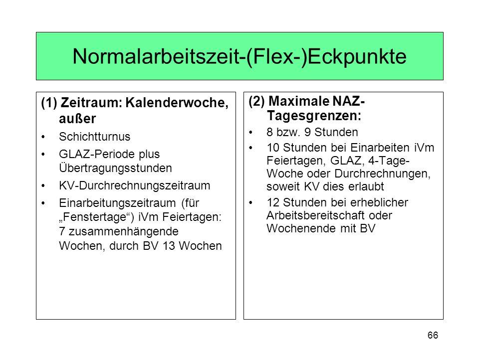 66 Normalarbeitszeit-(Flex-)Eckpunkte (1) Zeitraum: Kalenderwoche, außer Schichtturnus GLAZ-Periode plus Übertragungsstunden KV-Durchrechnungszeitraum Einarbeitungszeitraum (für Fenstertage) iVm Feiertagen: 7 zusammenhängende Wochen, durch BV 13 Wochen (2) Maximale NAZ- Tagesgrenzen: 8 bzw.