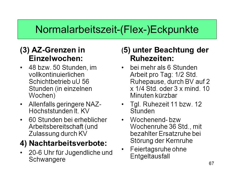 67 Normalarbeitszeit-(Flex-)Eckpunkte (3) AZ-Grenzen in Einzelwochen: 48 bzw. 50 Stunden, im vollkontinuierlichen Schichtbetrieb uU 56 Stunden (in ein