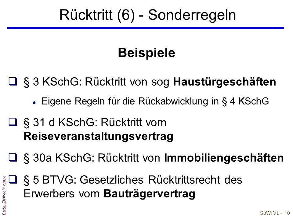 SoWi VL - 10 Barta: Zivilrecht online Beispiele q§ 3 KSchG: Rücktritt von sog Haustürgeschäften l Eigene Regeln für die Rückabwicklung in § 4 KSchG q§