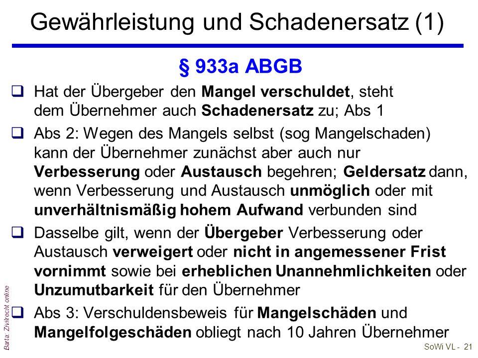 SoWi VL - 21 Barta: Zivilrecht online Gewährleistung und Schadenersatz (1) § 933a ABGB qHat der Übergeber den Mangel verschuldet, steht dem Übernehmer