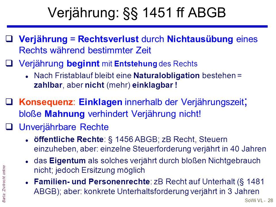 SoWi VL - 28 Barta: Zivilrecht online Verjährung: §§ 1451 ff ABGB qVerjährung = Rechtsverlust durch Nichtausübung eines Rechts während bestimmter Zeit
