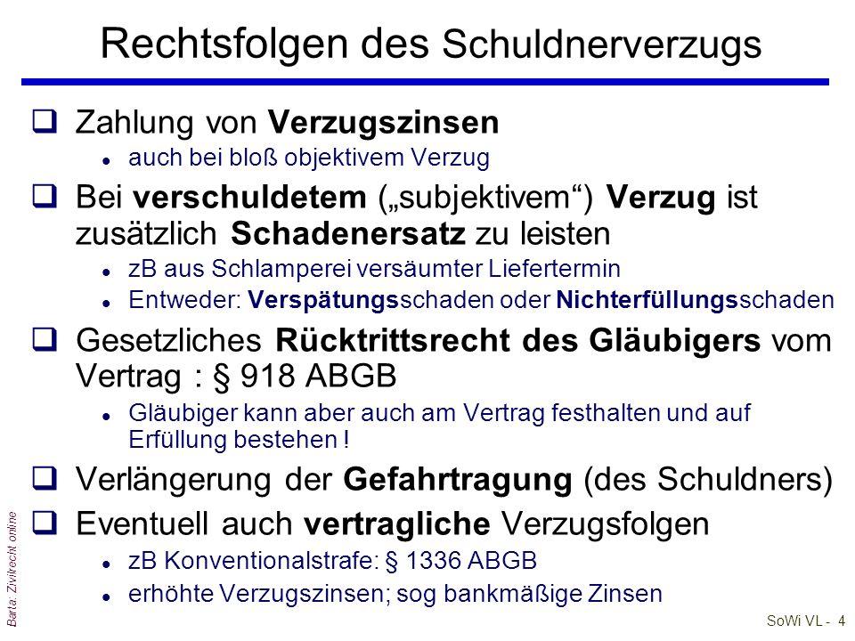 SoWi VL - 4 Barta: Zivilrecht online qZahlung von Verzugszinsen l auch bei bloß objektivem Verzug qBei verschuldetem (subjektivem) Verzug ist zusätzli