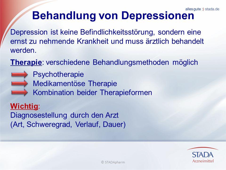 Behandlung von Depressionen Depression ist keine Befindlichkeitsstörung, sondern eine ernst zu nehmende Krankheit und muss ärztlich behandelt werden.