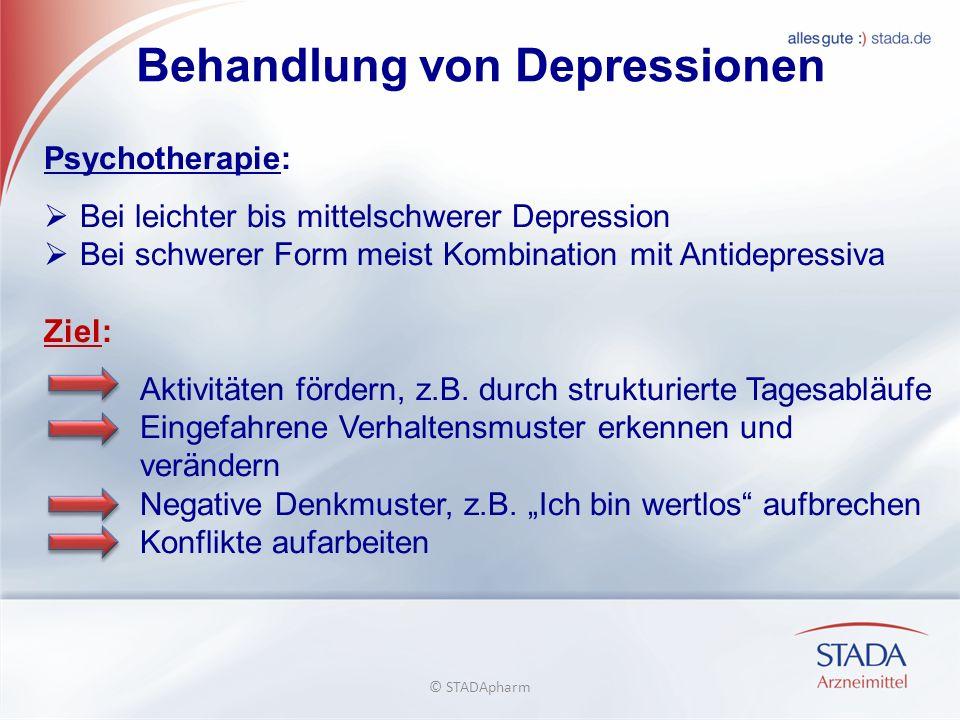 Behandlung von Depressionen Psychotherapie: Bei leichter bis mittelschwerer Depression Bei schwerer Form meist Kombination mit Antidepressiva Ziel: Aktivitäten fördern, z.B.