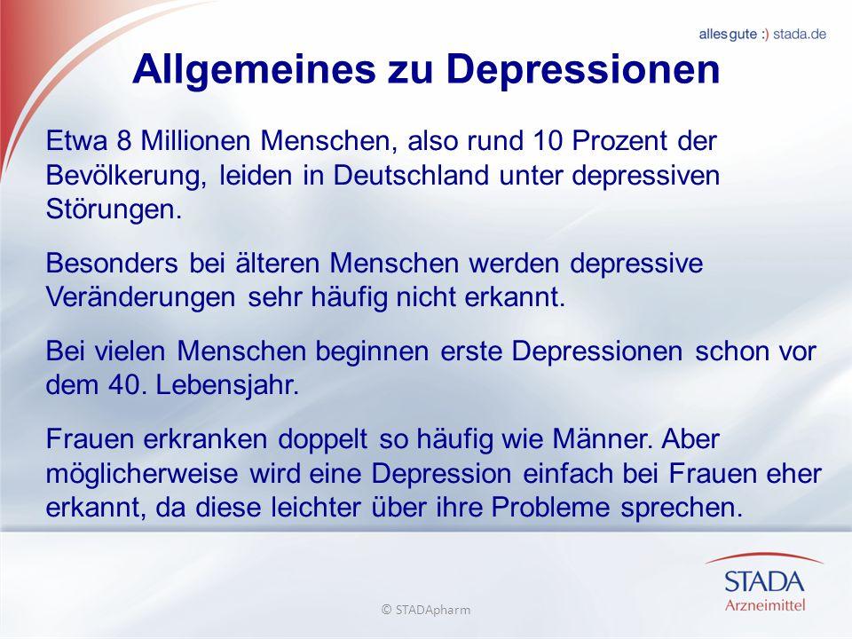 Allgemeines zu Depressionen Etwa 8 Millionen Menschen, also rund 10 Prozent der Bevölkerung, leiden in Deutschland unter depressiven Störungen.