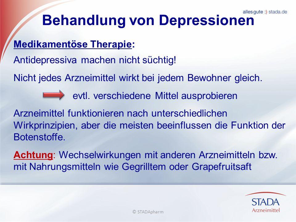 Behandlung von Depressionen Medikamentöse Therapie: Antidepressiva machen nicht süchtig.