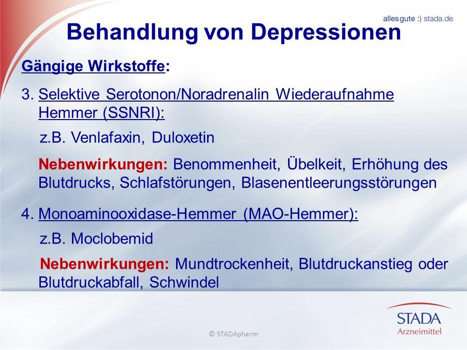 Behandlung von Depressionen Gängige Wirkstoffe: 3.