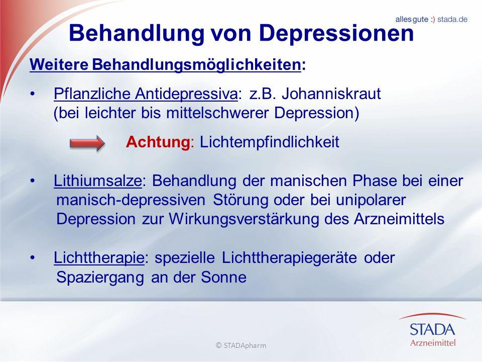 Behandlung von Depressionen Weitere Behandlungsmöglichkeiten: Pflanzliche Antidepressiva: z.B.