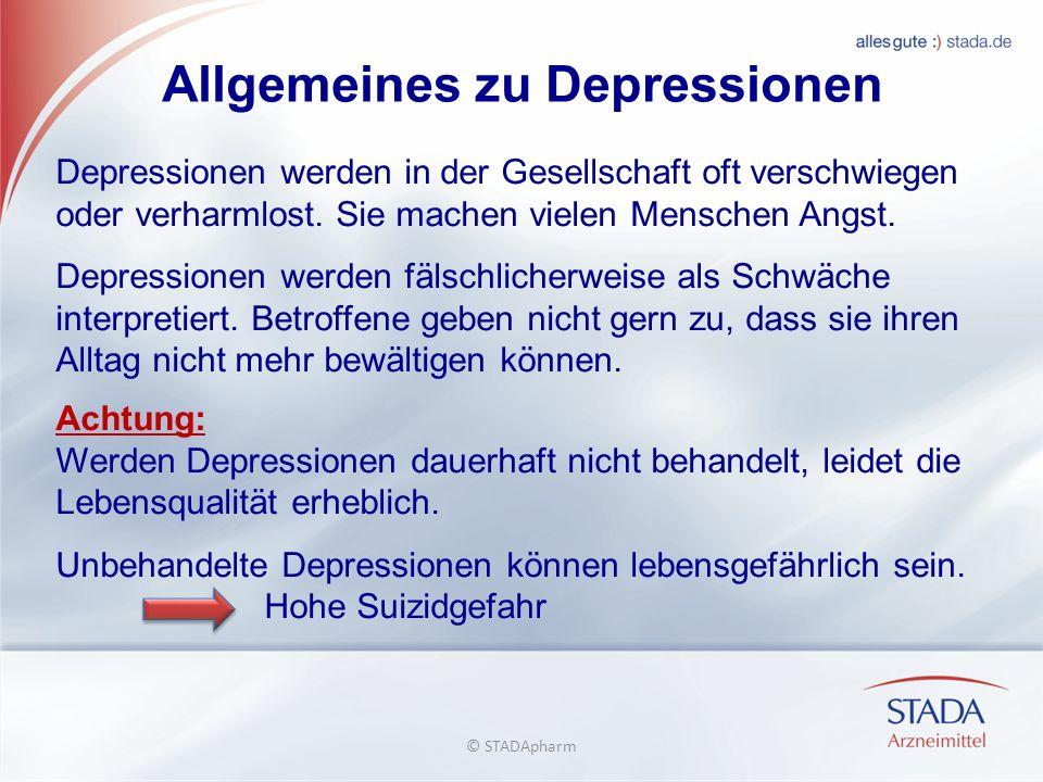 Allgemeines zu Depressionen Depressionen werden in der Gesellschaft oft verschwiegen oder verharmlost.