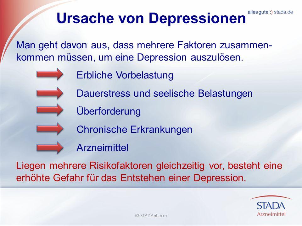 Ursache von Depressionen Man geht davon aus, dass mehrere Faktoren zusammen- kommen müssen, um eine Depression auszulösen.