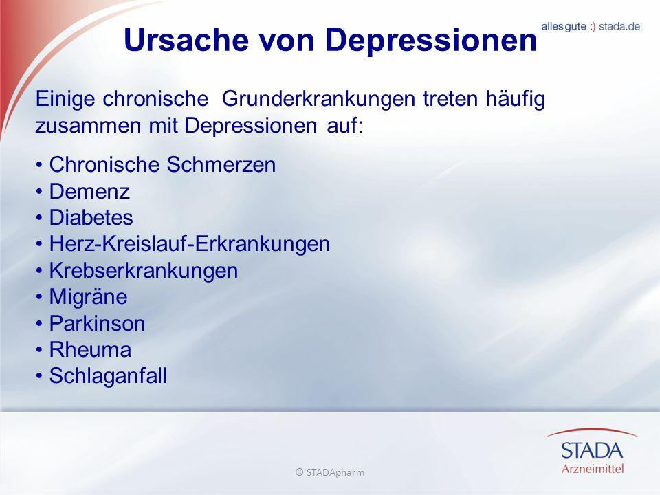 Ursache von Depressionen Einige chronische Grunderkrankungen treten häufig zusammen mit Depressionen auf: Chronische Schmerzen Demenz Diabetes Herz-Kreislauf-Erkrankungen Krebserkrankungen Migräne Parkinson Rheuma Schlaganfall © STADApharm