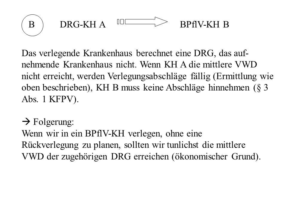 BDRG-KH ABPflV-KH B Das verlegende Krankenhaus berechnet eine DRG, das auf- nehmende Krankenhaus nicht.