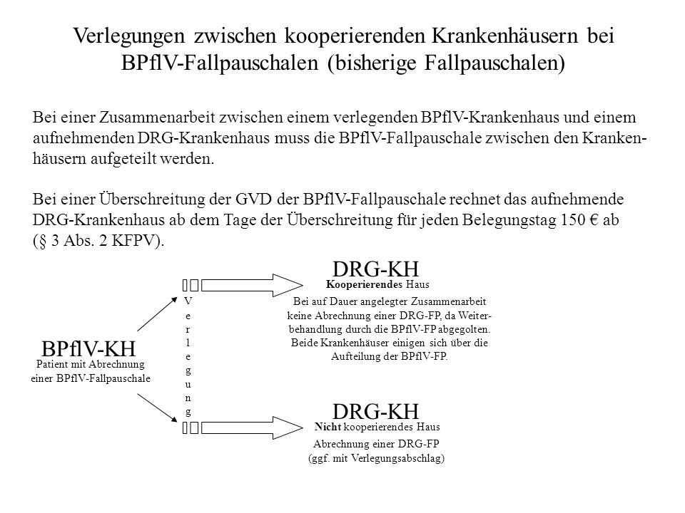 Verlegungen zwischen kooperierenden Krankenhäusern bei BPflV-Fallpauschalen (bisherige Fallpauschalen) Bei einer Zusammenarbeit zwischen einem verlegenden BPflV-Krankenhaus und einem aufnehmenden DRG-Krankenhaus muss die BPflV-Fallpauschale zwischen den Kranken- häusern aufgeteilt werden.