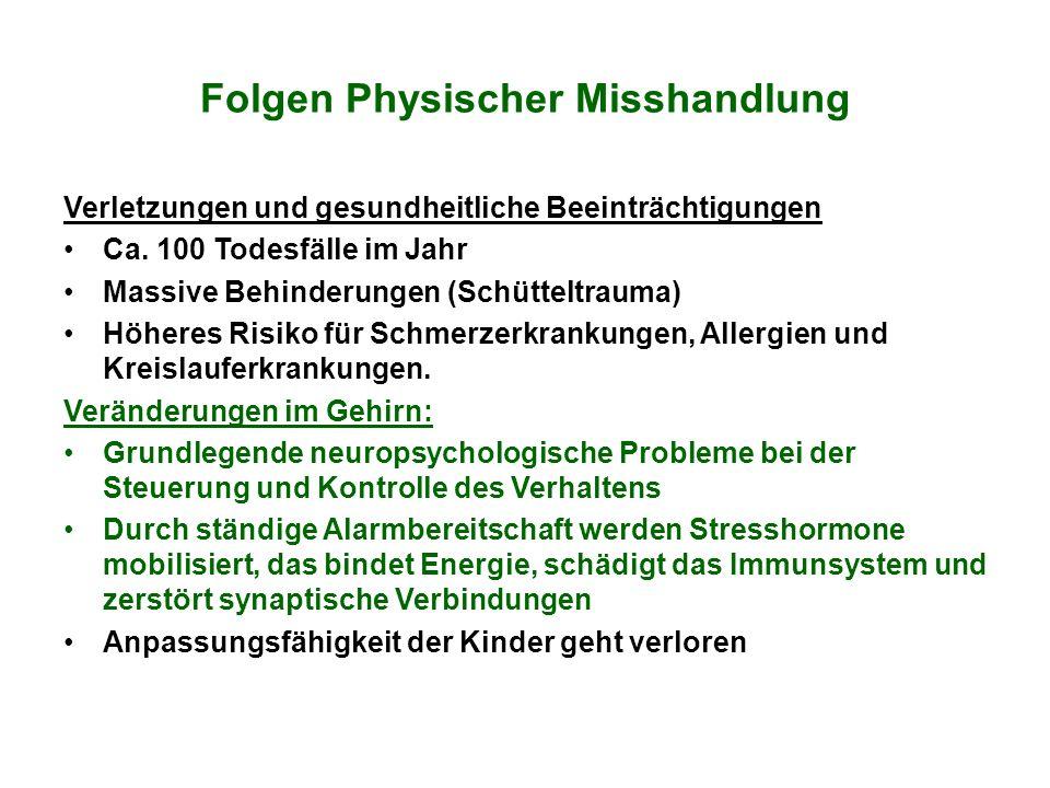 Folgen Physischer Misshandlung Verletzungen und gesundheitliche Beeinträchtigungen Ca. 100 Todesfälle im Jahr Massive Behinderungen (Schütteltrauma) H
