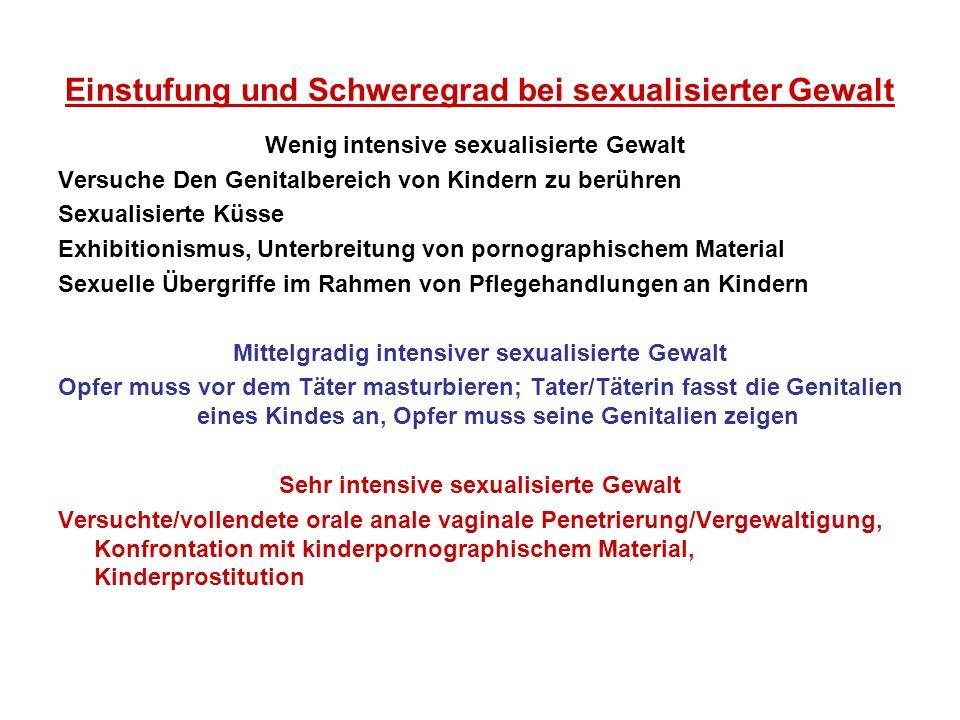 Einstufung und Schweregrad bei sexualisierter Gewalt Wenig intensive sexualisierte Gewalt Versuche Den Genitalbereich von Kindern zu berühren Sexualis