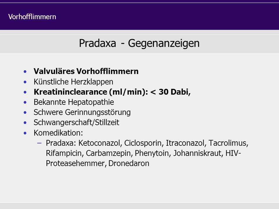Pradaxa - Gegenanzeigen Valvuläres Vorhofflimmern Künstliche Herzklappen Kreatininclearance (ml/min): < 30 Dabi, Bekannte Hepatopathie Schwere Gerinnu
