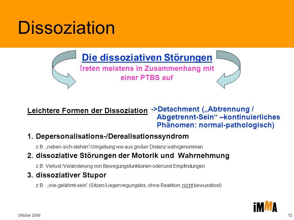 Oktober 200912 Leichtere Formen der Dissoziation 1.Depersonalisations-/Derealisationssyndrom z.B. neben-sich-stehen/Umgebung wie aus großer Distanz wa