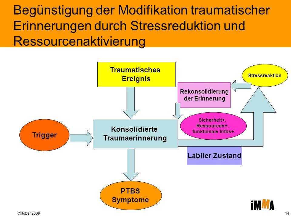 Oktober 200914 Begünstigung der Modifikation traumatischer Erinnerungen durch Stressreduktion und Ressourcenaktivierung Konsolidierte Traumaerinnerung