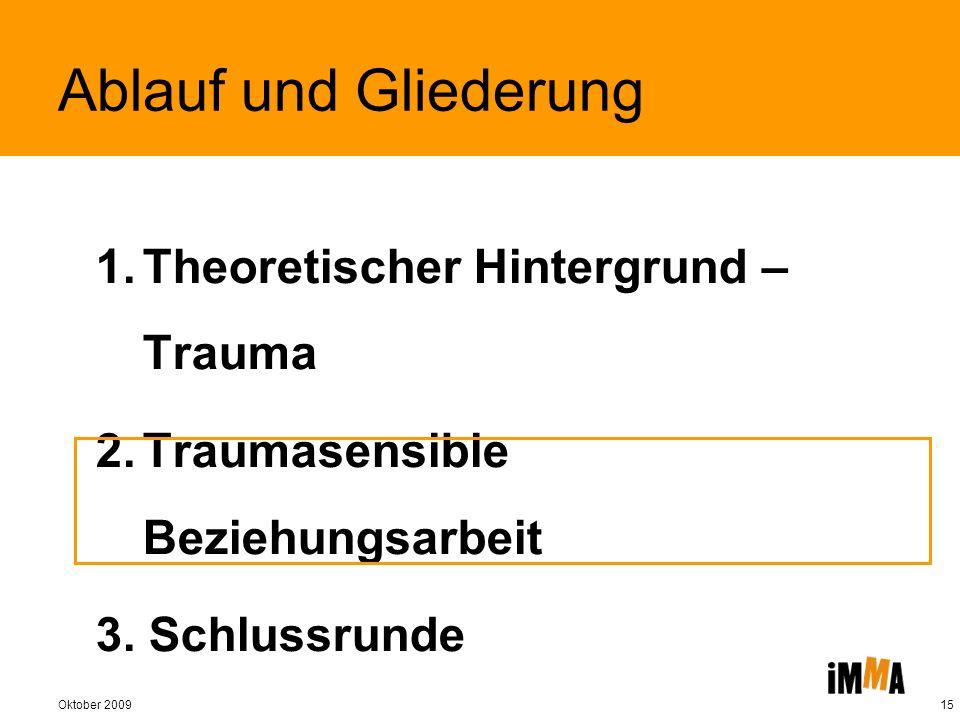 Oktober 200915 Ablauf und Gliederung 1.Theoretischer Hintergrund – Trauma 2.Traumasensible Beziehungsarbeit 3. Schlussrunde