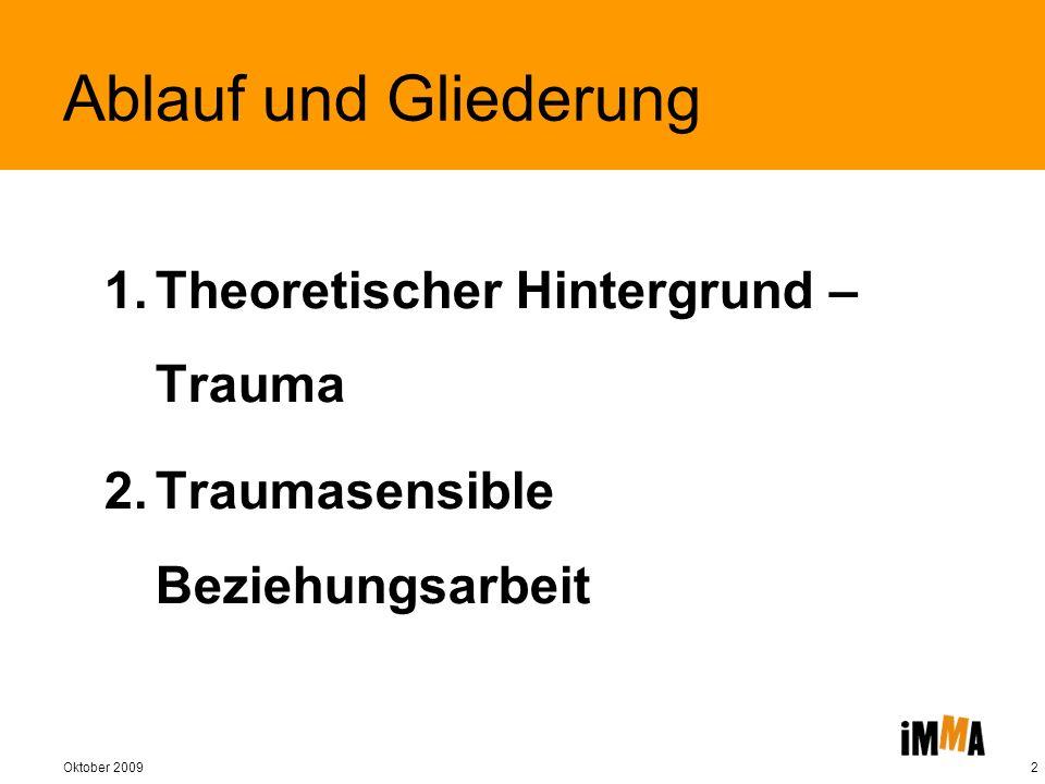 Oktober 20093 Ablauf und Gliederung 1.Theoretischer Hintergrund – Trauma 2.Traumasensible Beziehungsarbeit