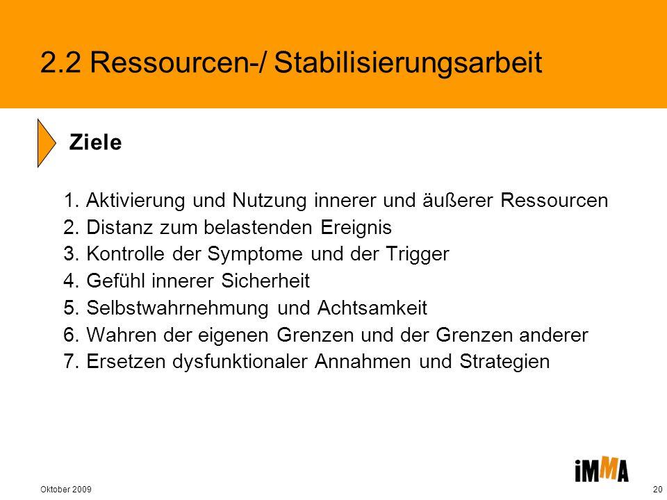 Oktober 200920 2.2 Ressourcen-/ Stabilisierungsarbeit 1. Aktivierung und Nutzung innerer und äußerer Ressourcen 2. Distanz zum belastenden Ereignis 3.
