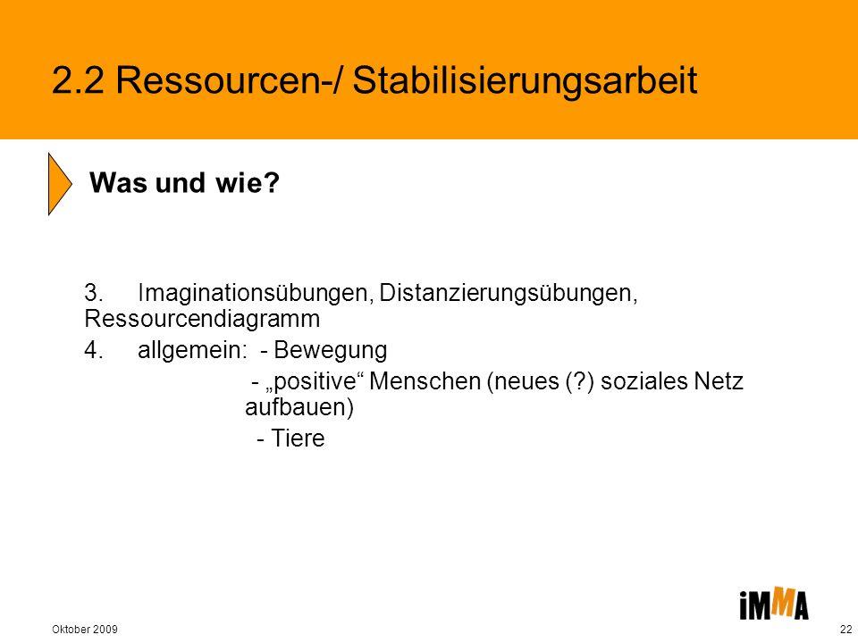 Oktober 200922 3. Imaginationsübungen, Distanzierungsübungen, Ressourcendiagramm 4. allgemein: - Bewegung - positive Menschen (neues (?) soziales Netz
