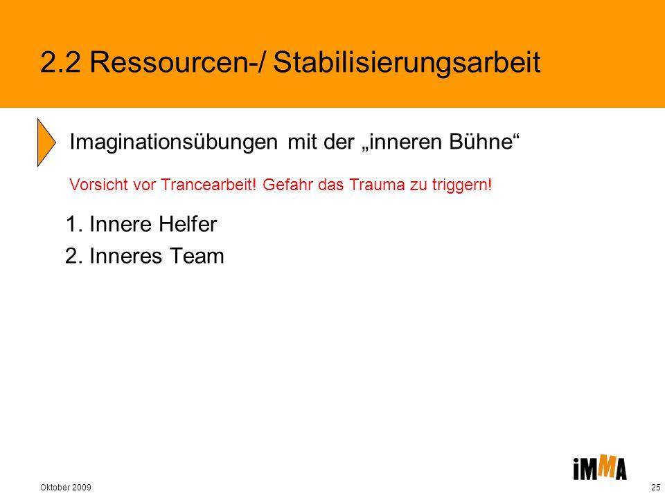 Oktober 200925 1. Innere Helfer 2. Inneres Team Imaginationsübungen mit der inneren Bühne 2.2 Ressourcen-/ Stabilisierungsarbeit Vorsicht vor Trancear
