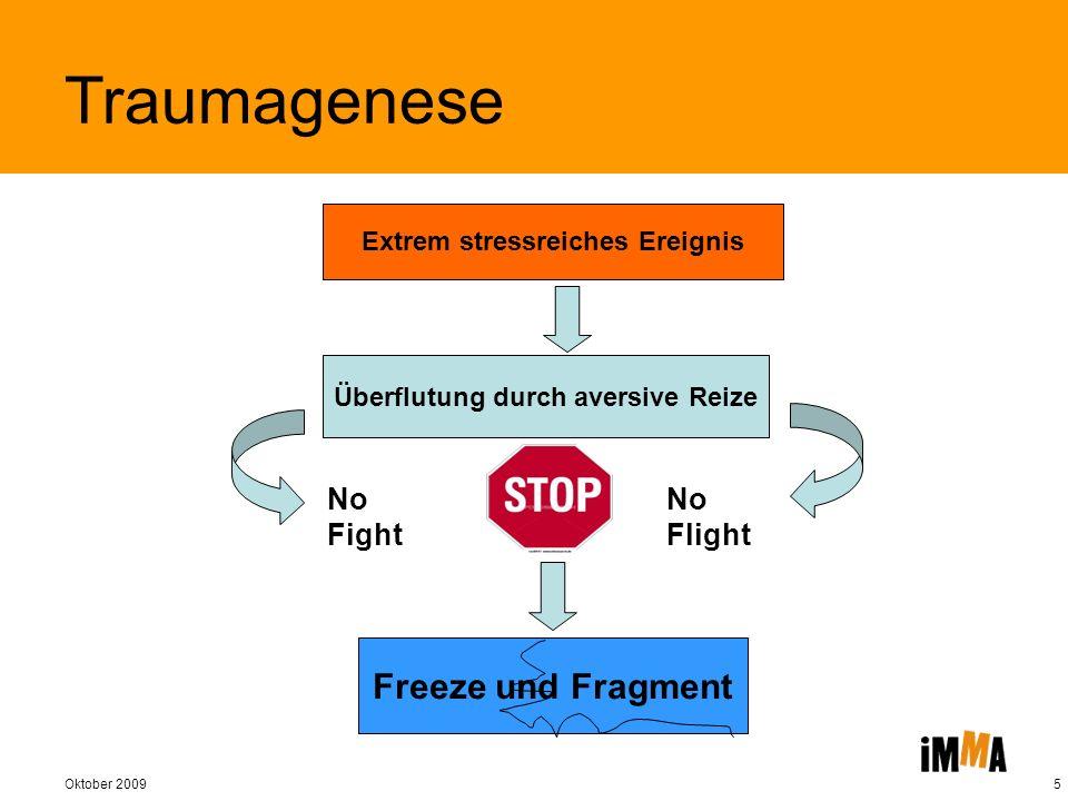 Oktober 20095 No Fight No Flight Freeze und Fragment Extrem stressreiches Ereignis Überflutung durch aversive Reize Traumagenese