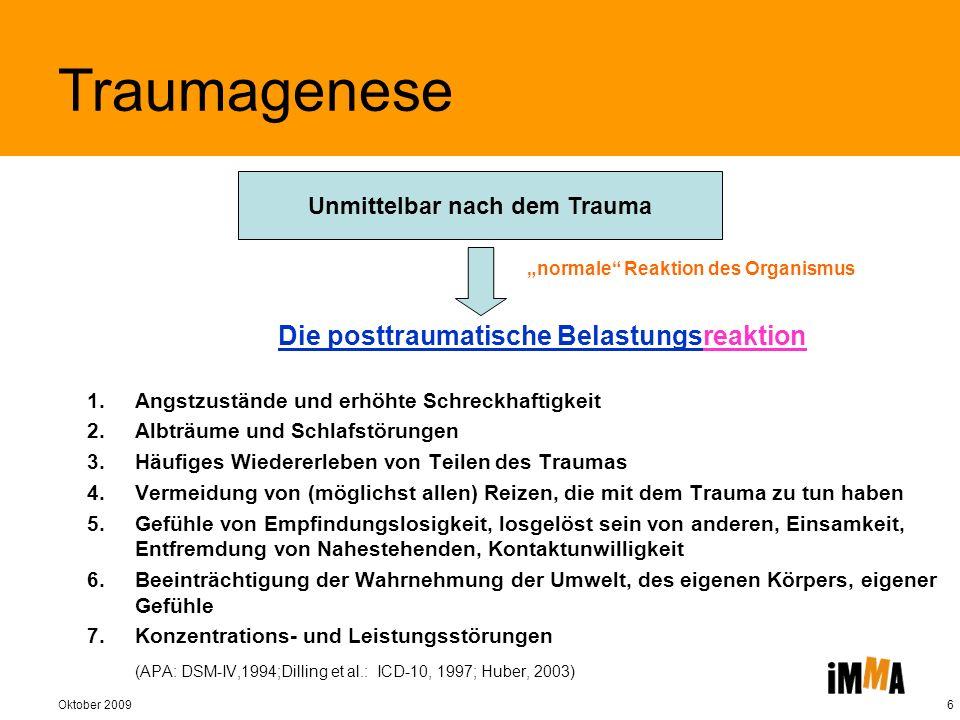 Oktober 20096 Die posttraumatische Belastungsreaktion Unmittelbar nach dem Trauma normale Reaktion des Organismus Traumagenese 1.Angstzustände und erh