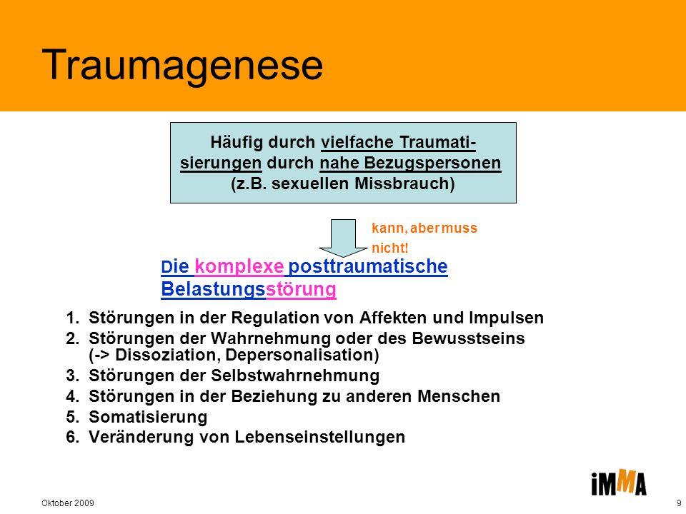Oktober 20099 D ie komplexe posttraumatische Belastungsstörung 1. Störungen in der Regulation von Affekten und Impulsen 2. Störungen der Wahrnehmung o