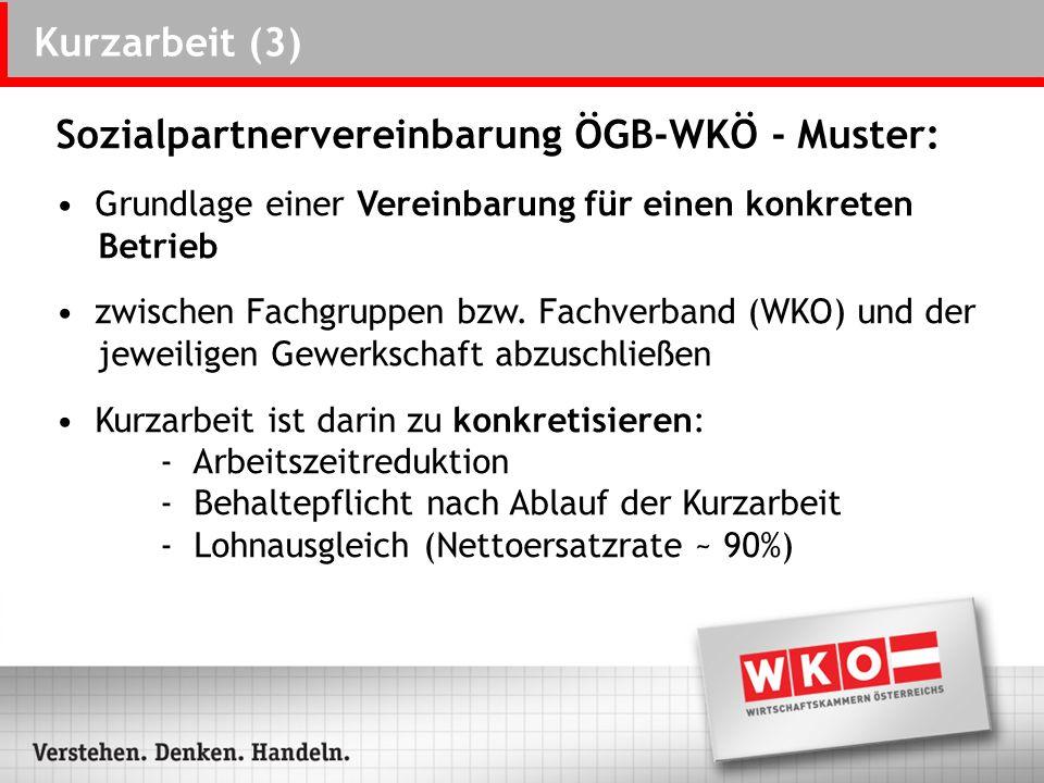 Kurzarbeit (3) Sozialpartnervereinbarung ÖGB-WKÖ - Muster: Grundlage einer Vereinbarung für einen konkreten Betrieb zwischen Fachgruppen bzw. Fachverb