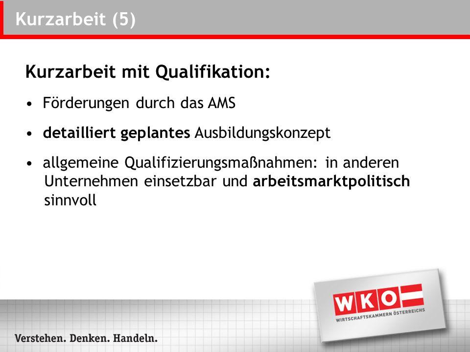 Kurzarbeit (5) Kurzarbeit mit Qualifikation: Förderungen durch das AMS detailliert geplantes Ausbildungskonzept allgemeine Qualifizierungsmaßnahmen: i