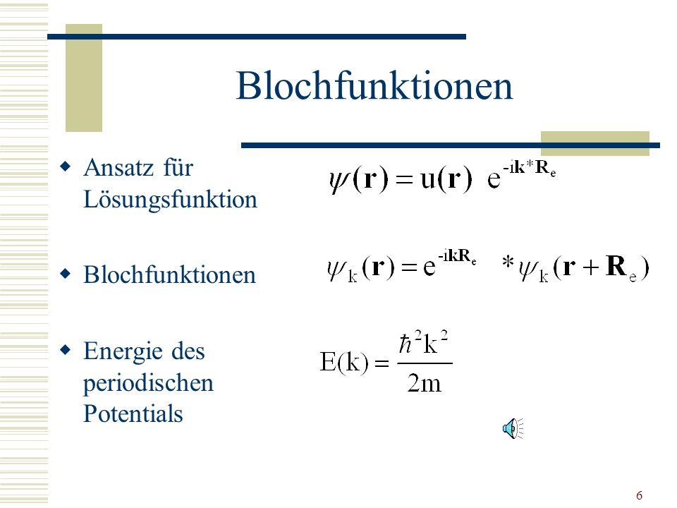 5 Elektronen im periodischen Potential Elektronen im Metall nicht frei Potential der Schrödingergleichung periodisch Raumdiagonale Abb.1: Elektronen i