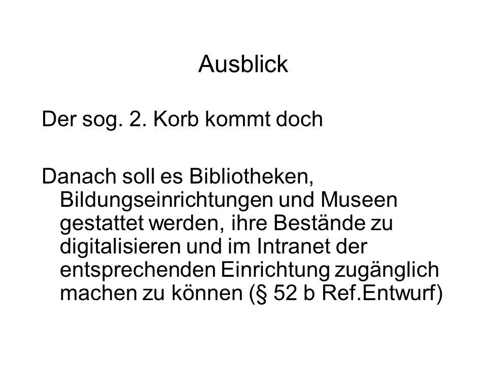 Ausblick Der sog.2.